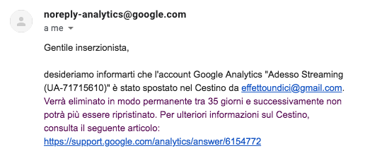 eliminazione account analytics