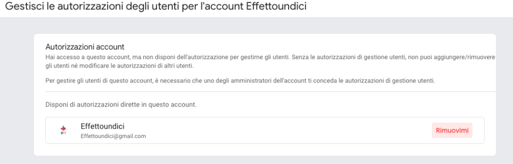 eliminare account analytics