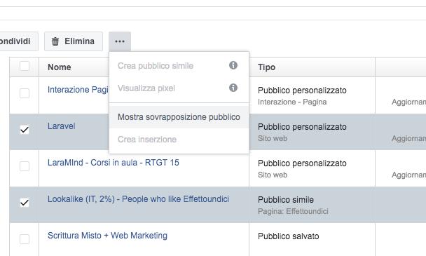 sovrapposizione pubblico facebook
