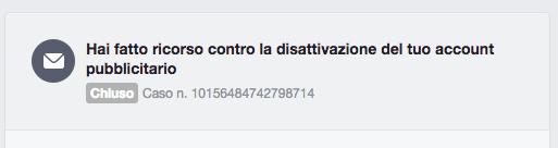 account ADV facebook disattivato