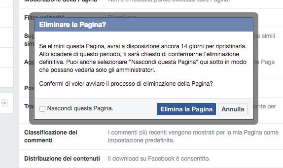 eliminare pag facebook